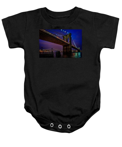 Twilight At The Brooklyn Bridge Baby Onesie