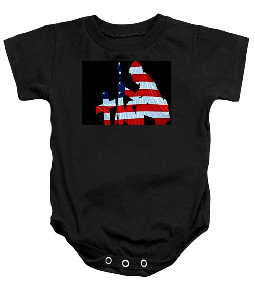 A Time To Remember United States Flag With Kneeling Soldier Silhouette Baby Onesie