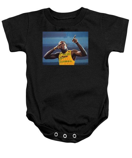 Usain Bolt Painting Baby Onesie