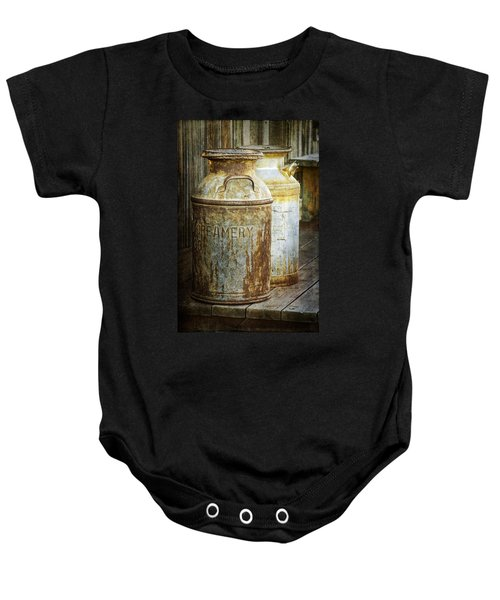 Vintage Creamery Cans In 1880 Town In South Dakota Baby Onesie