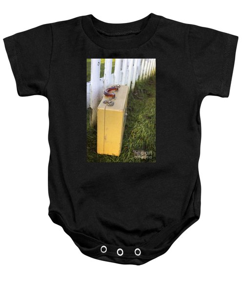 Vintage Luggage Left By A White Picket Fence Baby Onesie by Edward Fielding