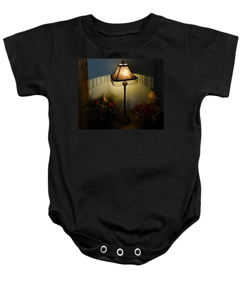 Vintage Still Life And Lamp Baby Onesie