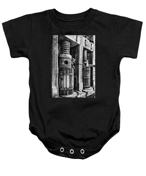 Vintage Wine Press Bw Baby Onesie