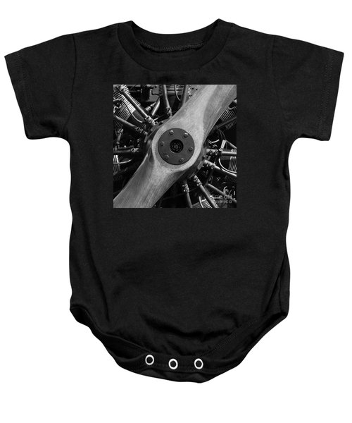 Vintage Wood Propeller - 7d15828 - Square - Black And White Baby Onesie