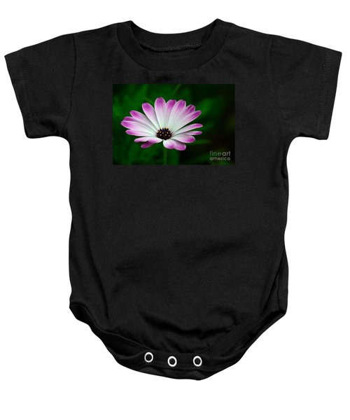 Violet And White Flower Petals With Yellow Stamens Blossoms  Baby Onesie