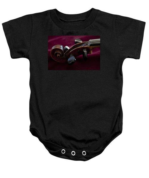 Violin On Deep Red Baby Onesie