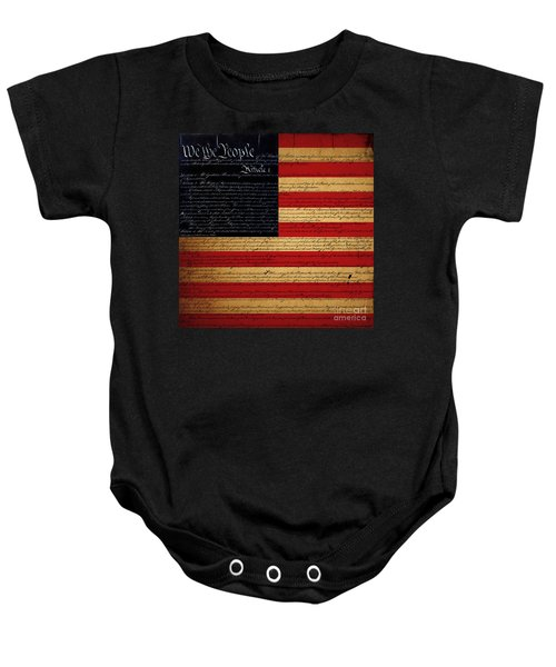 We The People - The Us Constitution With Flag - Square Baby Onesie