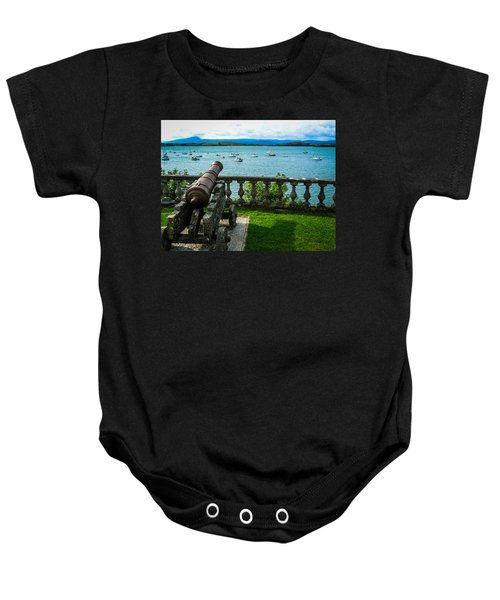Baby Onesie featuring the photograph Weathered Cannon Guards Ireland's Historic Bantry Bay by James Truett