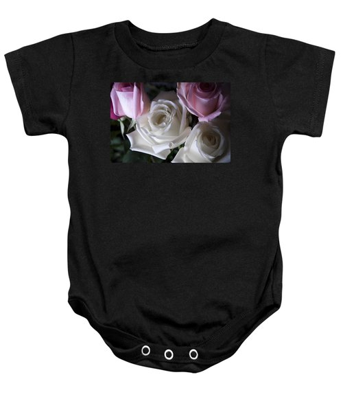 Baby Onesie featuring the photograph White And Pink Roses by Jennifer Ancker