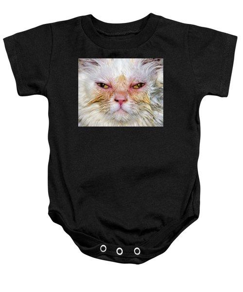 Scary White Cat Baby Onesie