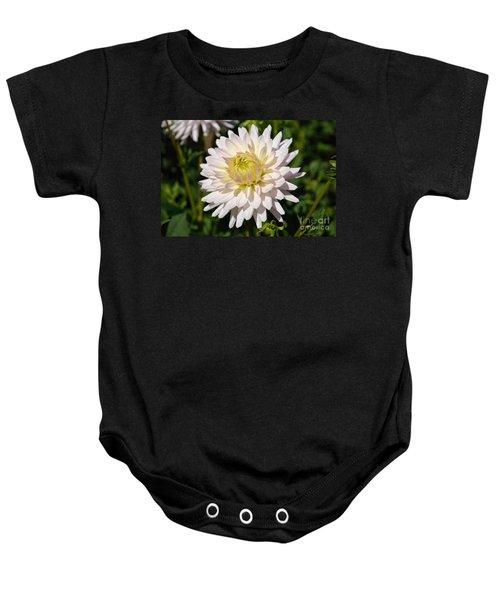 White Dahlia Flower Baby Onesie