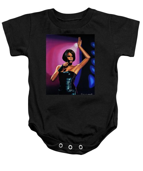 Whitney Houston On Stage Baby Onesie by Paul Meijering