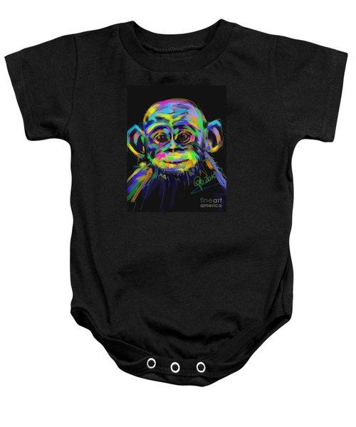 Baby Onesie featuring the painting Wildlife Baby Chimp by Go Van Kampen