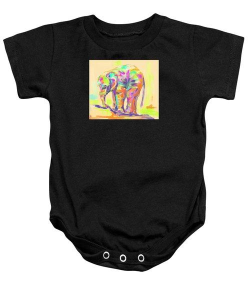 Baby Onesie featuring the painting Wildlife Baby Elephant by Go Van Kampen