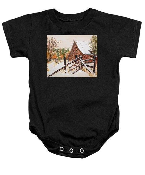 Winter - Barn - Snow In Nevada Baby Onesie