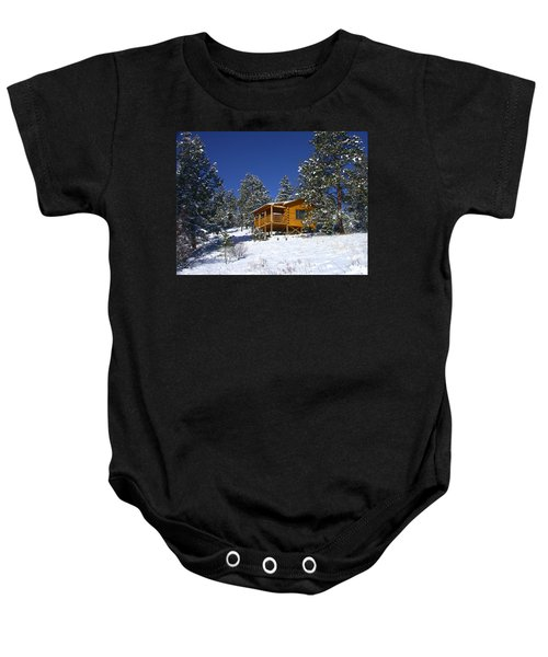 Winter Cabin Baby Onesie