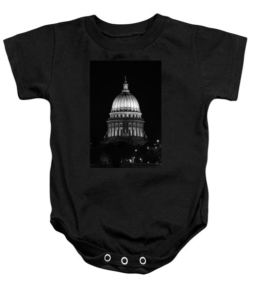 Wisconsin State Capitol Building At Night Black And White Baby Onesie