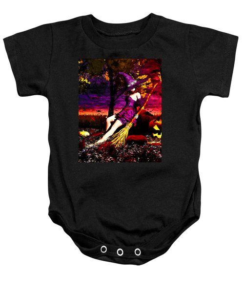 Witch In The Pumpkin Patch Baby Onesie by Bob Orsillo