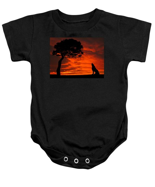 Baby Onesie featuring the photograph Wolf Calling For Mate Sunset Silhouette Series by David Dehner