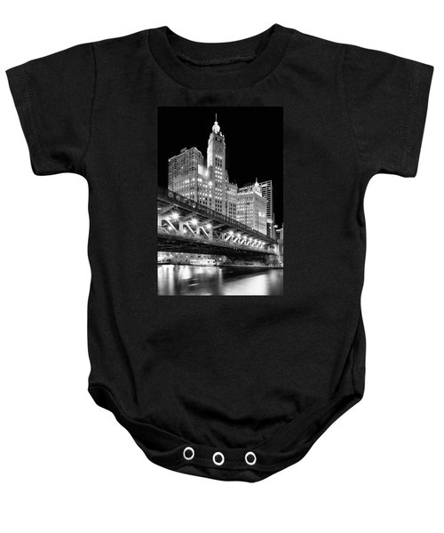 Wrigley Building At Night In Black And White Baby Onesie
