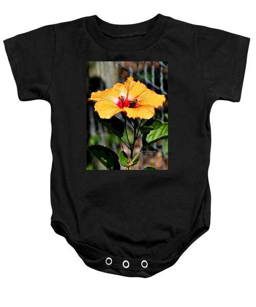 Yellow Bumble Bee Flower Baby Onesie
