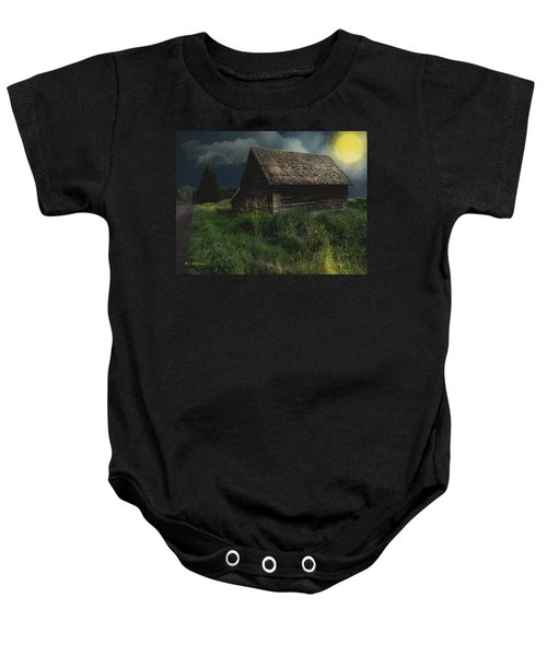 Yellow Moon On The Rise Baby Onesie