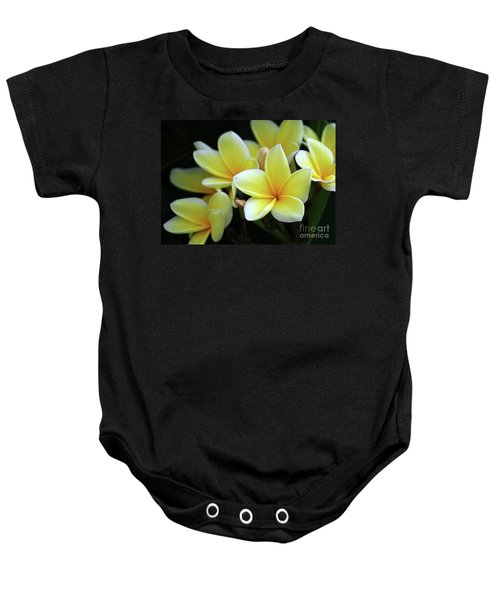 Yellow Plumeria Cascade Baby Onesie