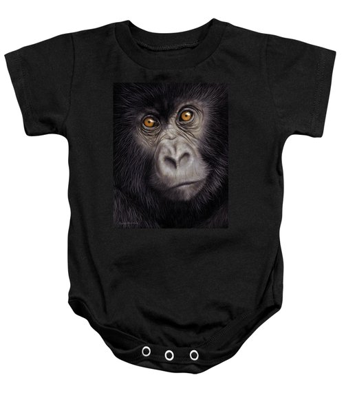 Young Gorilla Painting Baby Onesie