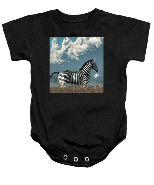 Zebra And Approaching Storm Baby Onesie