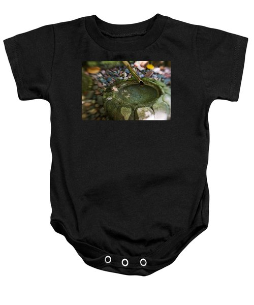 Baby Onesie featuring the photograph Zen Bamboo Fountain by Renee Hong