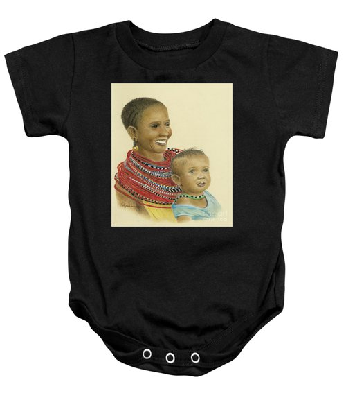 Masai Mom And Babe Baby Onesie
