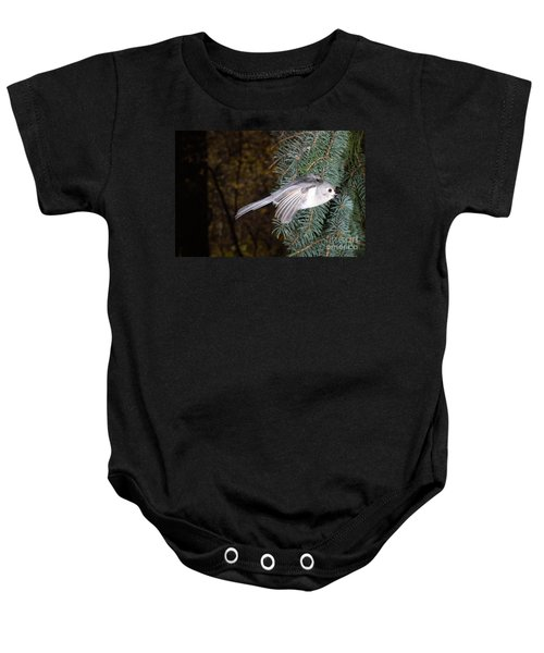 Tufted Titmouse In Flight Baby Onesie
