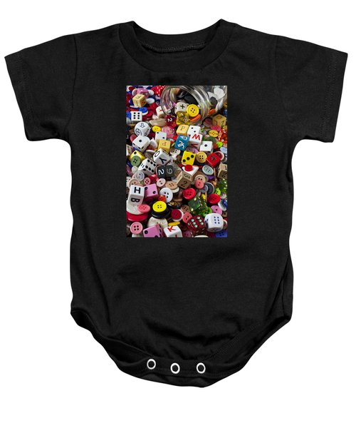 Buttons And Dice Baby Onesie