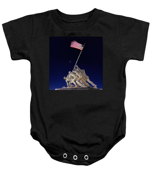 Digital Drawing - Iwo Jima Memorial At Dusk Baby Onesie