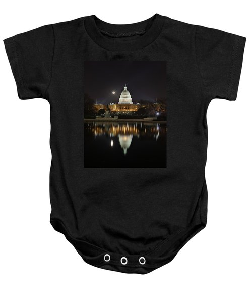 Digital Liquid - Full Moon At The Us Capitol Baby Onesie