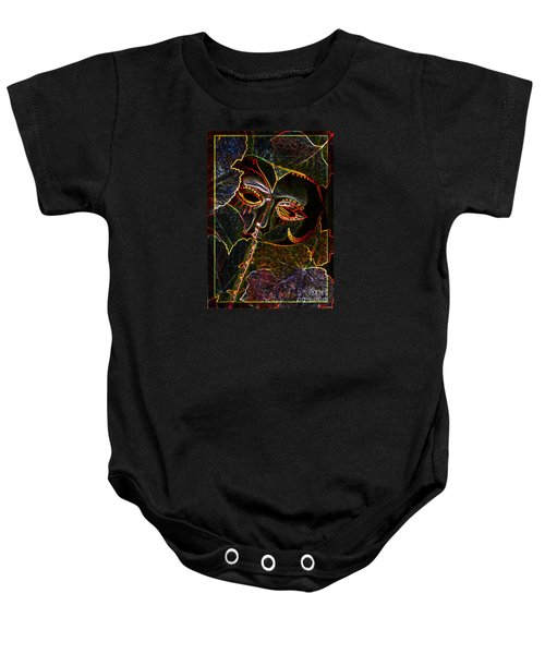 Baby Onesie featuring the relief Glowing Mask With Leaves by Nareeta Martin