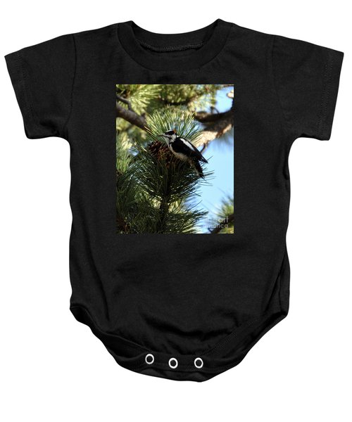 Hairy Woodpecker On Pine Cone Baby Onesie