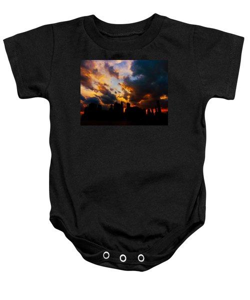 New York City Skyline At Sunset Under Clouds Baby Onesie