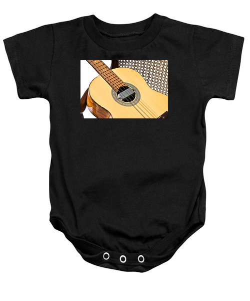 Old Guitar In A Chair Baby Onesie