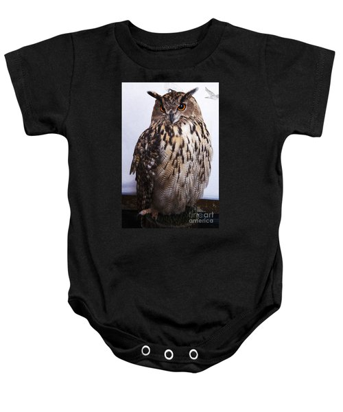 Orange Owl Eyes Baby Onesie