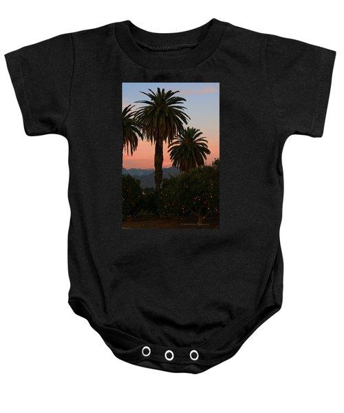 Palm Trees And Orange Trees Baby Onesie