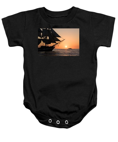 Silhouette Of Tall Ship At Sunset Baby Onesie