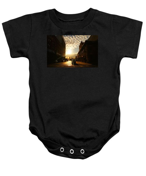 Summer Sunset Over A Cobblestone Street - New York City Baby Onesie