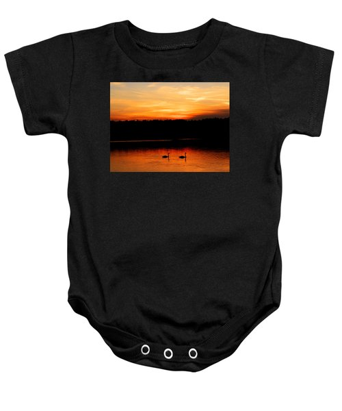 Swans In The Sunset Baby Onesie