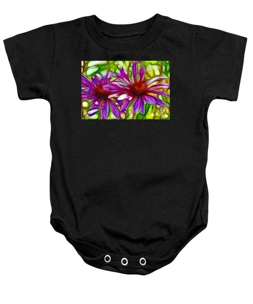 Two Purple Daisy's Fractal Baby Onesie
