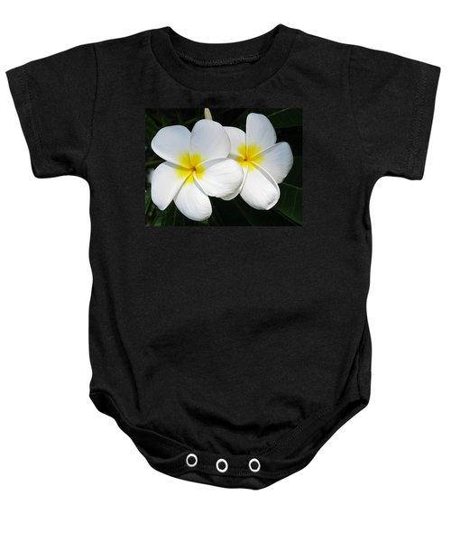White Plumerias Baby Onesie