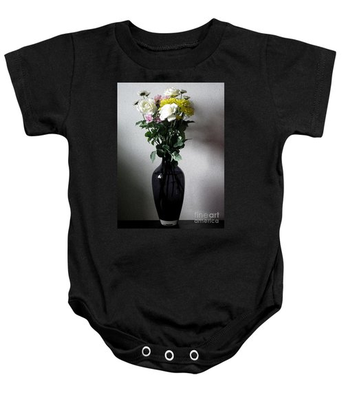 White Roses With Mixed Flowers Baby Onesie