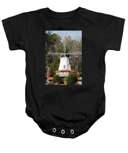 White Windmill Baby Onesie