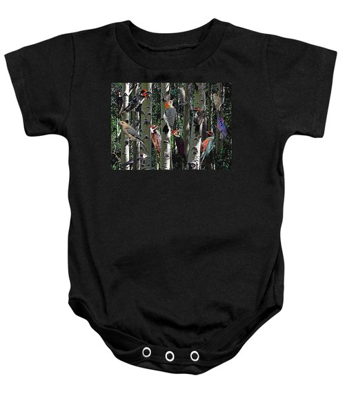Woodpecker Collage Baby Onesie