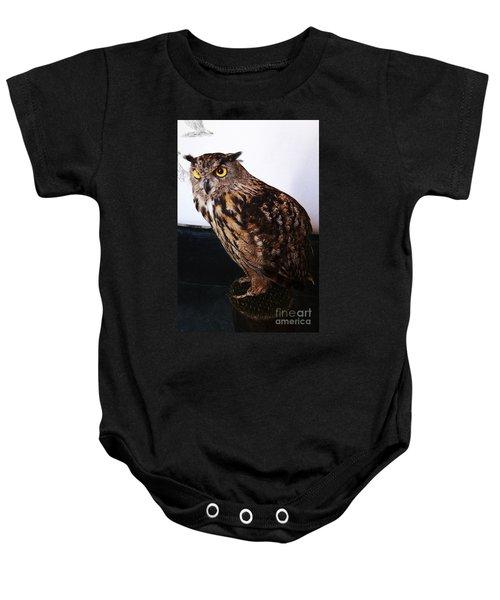 Yellow-eyed Owl Side Baby Onesie